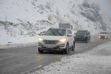 بارش برف و لغزندگی در جاده کرج - چالوس