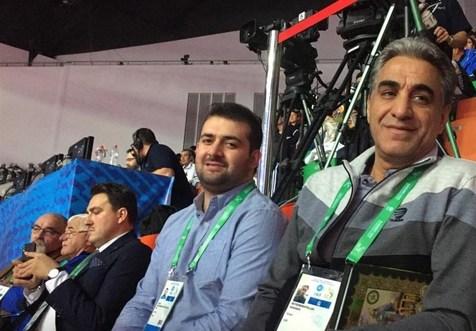 حضور محمدپور در سالن برای دریافت طلای المپیک+عکس