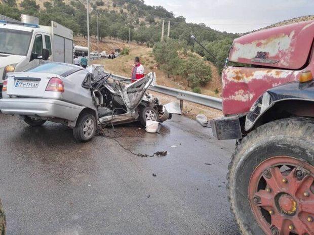 برخورد کامیون با خودروی سواری در ساری ۲ کشته گرفت