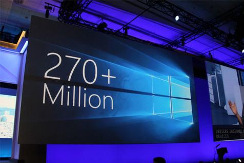 ویندوز ۱۰ بیش از ۲۷۰ میلیون کاربر فعال دارد