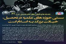پوستر   امام خمینی(س): سستی حوزه های علمیه در تحصیل، خیانت بزرگ به اسلام است