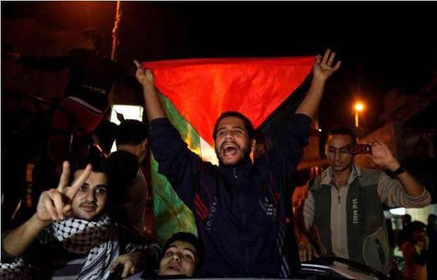 پایان جنگ 7 روزه در غزه/شادی پیروزی در غزه پس از آتش بس