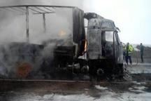 آتش گرفتن تریلر با بار پسته در محور مرگنلر آذربایجان غربی