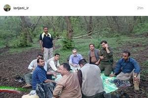 طبیعت گردی رئیس مجلس در جنگل های مازندران +عکس