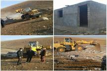 تخریب ساخت و ساز غیرمجاز در اراضی ملی شهرستان خرم آباد