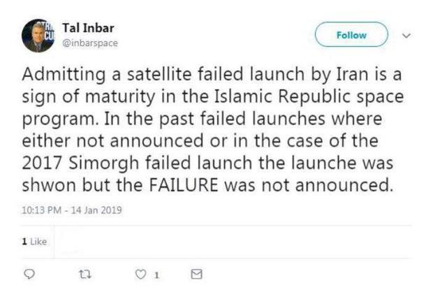 پذیرش شکست پرتاب ماهواره توسط ایران نشانهای از بلوغ برنامه فضایی ایران است
