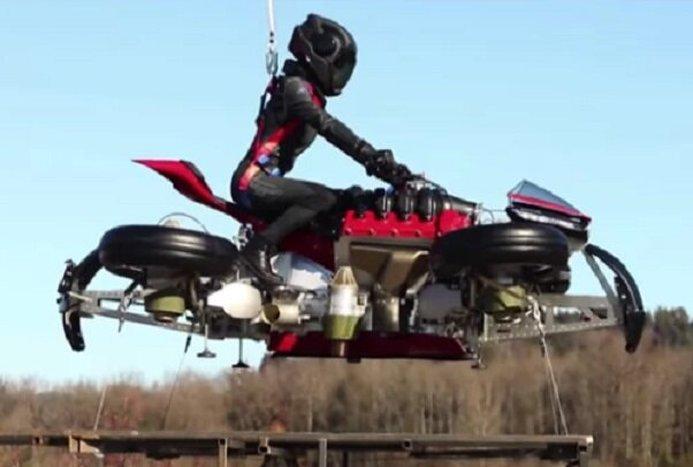 موتورسیکلت پرنده با موفقیت پرواز کرد+ویدیو