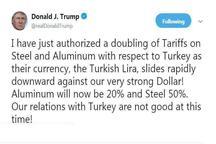 رضایت ترامپ از سقوط ارزش لیر ترکیه برابر دلار