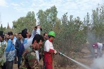 مانور مهار آتش در عرصههای جنگلی بوستان فراغه ابرکوه برگزار شد