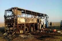 اتوبوس حامل مسافران پاکستانی در تربت حیدریه آتش گرفت مسافران سالم اند