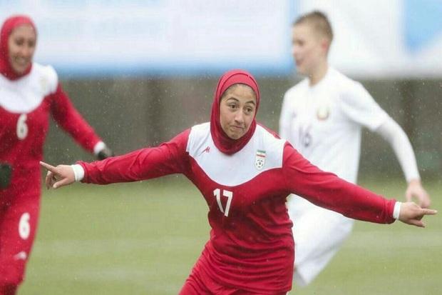 درخشش بازیکن ارومیه ای در مسابقه فوتبال دختران ایران و بلاروس
