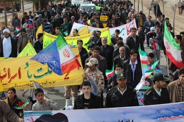 راهپیمایی یوم الله 22 بهمن در ندوشن برگزار شد