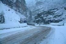 بارش برف سنگین و لغزندگی  جاده کرج -چالوس