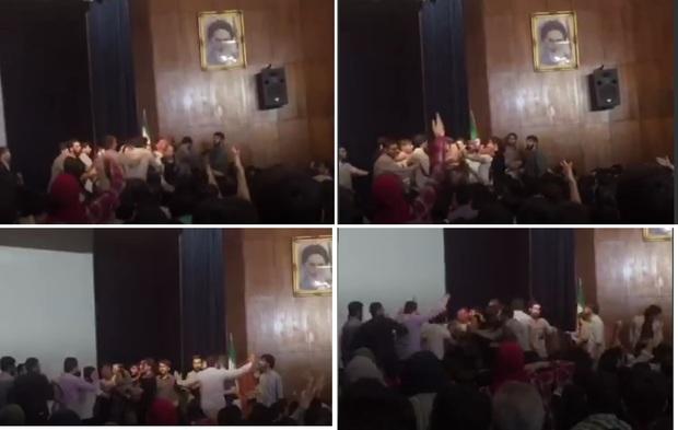 تجمع در دانشگاه تهران با تنش همراه شد + تصاویر