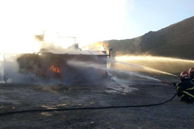 کارگاه شارژ سیلندر گاز مایع در اراک طعمه آتش شد