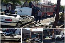 واژگونی پژو پارس به دلیل سرعت بالا در خیابان شریعتی دزفول
