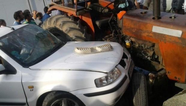تصادف سواری و تراکتور در منطقه مرزی گنبد سه مجروح برجا گذاشت