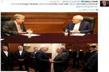 انتشار تصویر دیدار اخیر ظریف و گوترش در توئیتر نماینده سازمان ملل در تهران