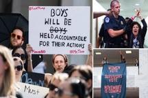 تجمع معترضان به بی عدالتی در آمریکا در کنگره و دیوان عالی/ یک زن معترض از مجسمه عدالت بالا رفت+ تصاویر