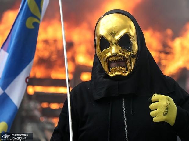 جلیقه زردها پاریس را به آتش کشیدند+ تصاویر
