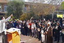 برگزاری تجمع  'مرگ برآمریکا 'طلبه های جامعه المصطفی درقم