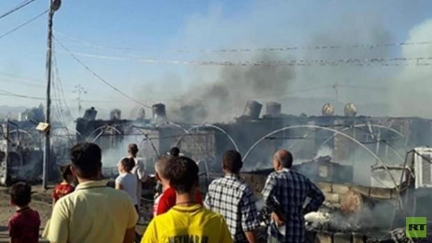 آتش سوزی مهیب در اردوگاه آوارگان در شمال عراق+تصاویر