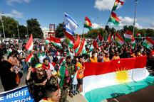 برافراشته شدن پرچم رژیمصهیونیستی در تظاهرات حمایت از جدایی کردستان در سوئیس