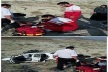 واژگونی خودرو پراید در جاده کلات پنج نفر را راهی بیمارستان کرد