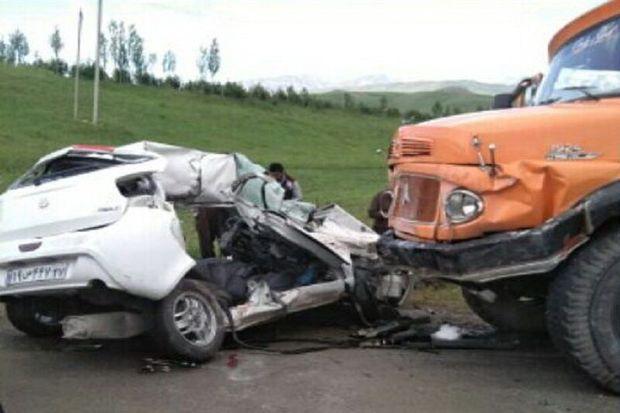 تصادف زنجیره ای ۱۴ خودرو در بشقارداش بجنورد
