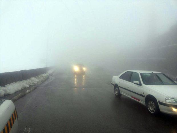 مه برخی محورهای کردستان را فرا گرفته است