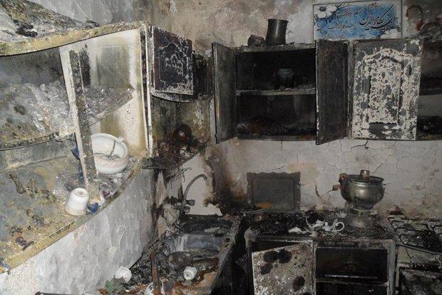 تخریب منزل مسکونی بر اثر انفجار گاز در مهاباد