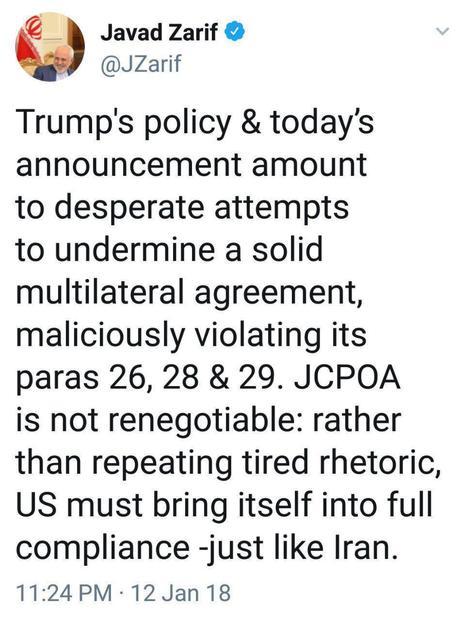 واکنش ظریف به زیادهخواهیهای ترامپ: برجام قابل مذاکره مجدد نیست