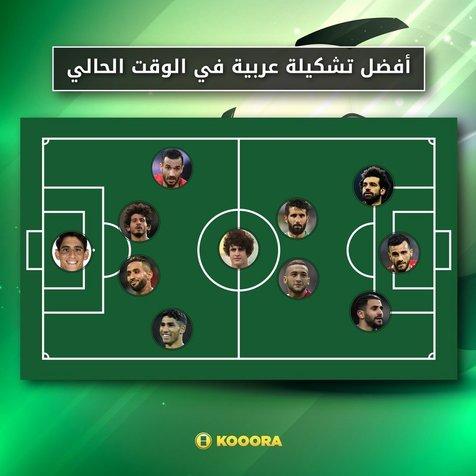 بازیکن پرسپولیس در کنار صلاح و محرز در تیم منتخب بازیکنان عرب+عکس