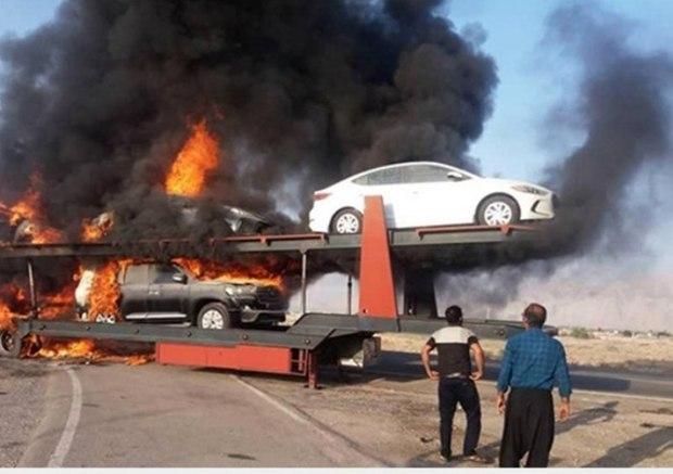خودروهای لوکس خارجی در آتش سوخت