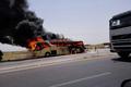 برخورد اتوبوس با خودروی قاچاق سوخت در محور ایرانشهر