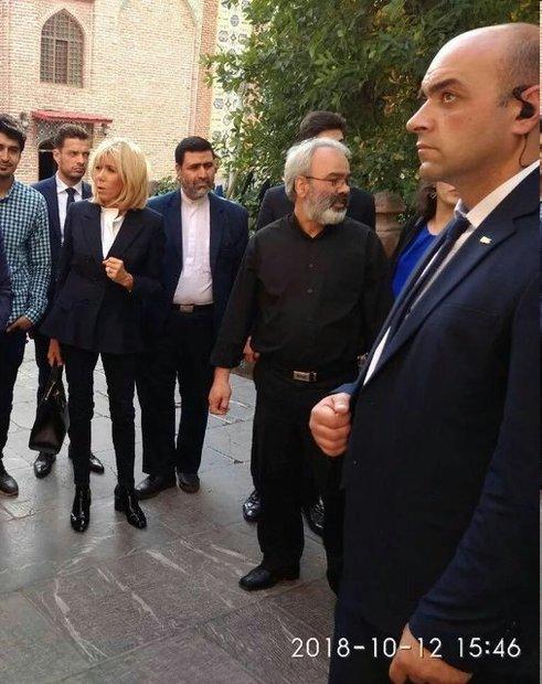 بازدید همسر رئیسجمهور فرانسه از یک مسجد ایرانی + عکس