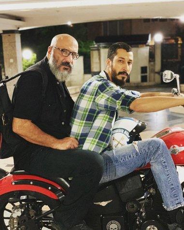 موتورسواری بهرام افشاری در کنار امیر جعفری+ عکس