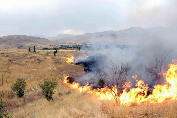 25 هکتار از اراضی و مراتع تکاب در آتش بی احتیاطی سوخت