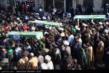 پیکر مطهر چهار شهید مدافع حرم حضرت زینب(س) در قم تشییع شد