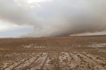 آتش سوزی تالاب میقان اراک کیفیت هوا را ناسالم کرد