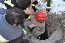 کارگر گرفتار از عمق چاه در کاشان نجات یافت