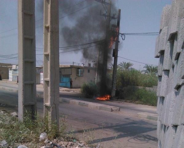 آتش سوزی ترانس برق علت خاموشی چهارساعته برق در یک منطقه  آبادان