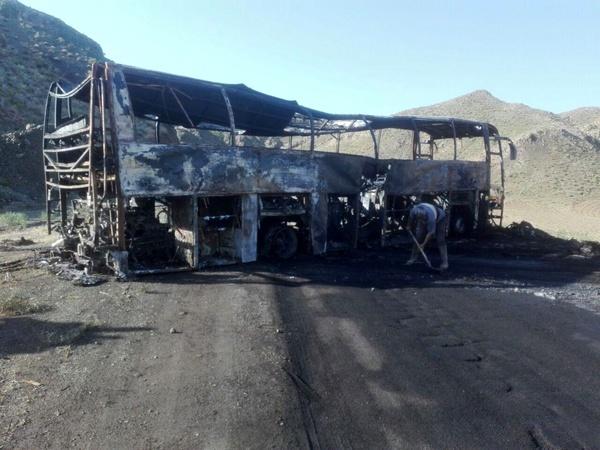 آتش سوزی در اتوبوس حامل سربازان وظیفه در محور سبزوار - بردسکن