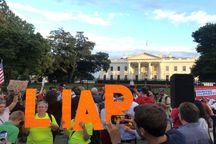 تصاویر/ تجمع اعتراضی مقابل کاخ سفید