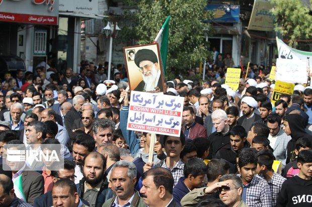 راهپیمایی یوم الله ۱۳ آبان در قزوین برگزار شد