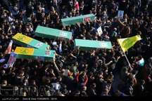 پیکرهای مطهر 6 شهید مدافع حرم حضرت زینب(س) در قم تشییع شد