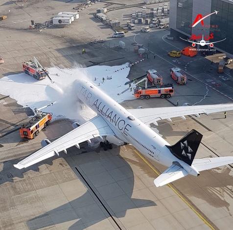 هواپیمای ایرباس در فرودگاه فرانکفورت آتش گرفت+ فیلم