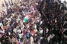 پیکر پاک یک شهید مرزبانی سیستان وبلوچستان درزاهدان تشییع وخاکسپاری شد