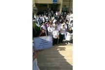 تجمع پرسنل بیمارستان امام خمینی کرج ماههاست مطالبات پرداخت نشدهاست