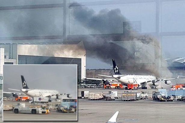 تصاویر/ آتش سوزی در فرودگاه فرانکفورت